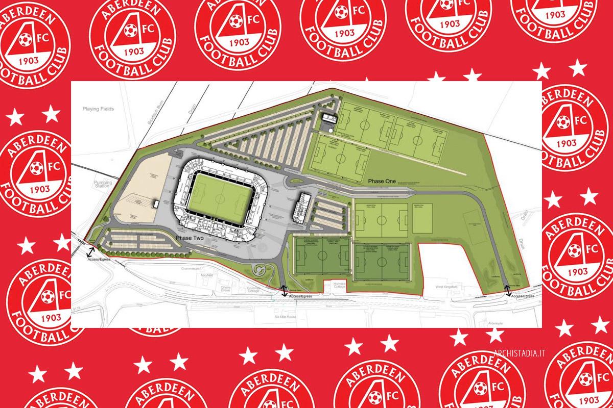 Aberdeen FC progetto nuovo stadio centro sportivo