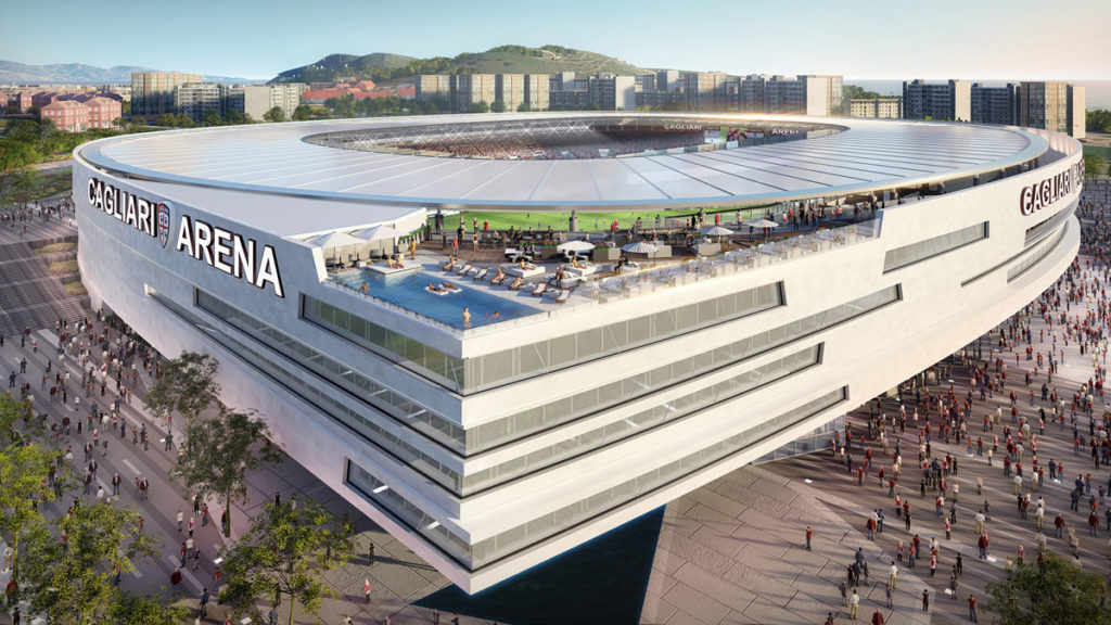 nuovo stadio cagliari sportium render vista aerea hotel