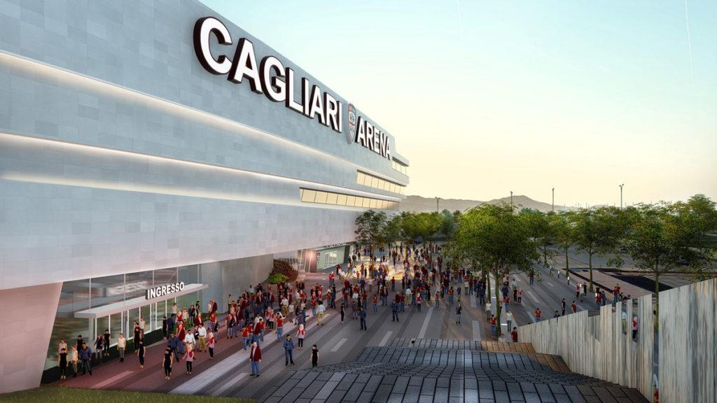 nuovo stadio cagliari sportium render facciata esterna