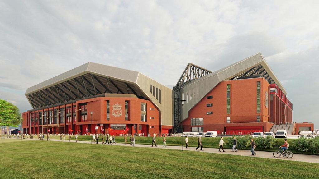 liverpool anfield render proposta ampliamento tribuna vista esterna