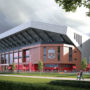 liverpool render proposta ampliamento anfield road vista esterna