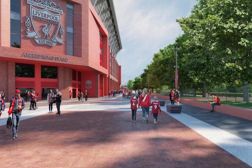 liverpool render proposta ampliamento tribuna vista esterna
