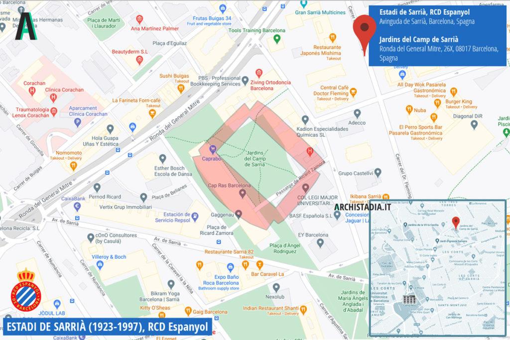 mappa stadio sarrià espanyol oggi barcellona