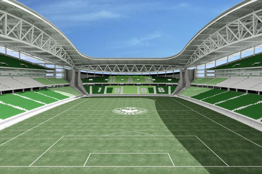 panathinaikos progetto nuovo stadio render vista interna campo
