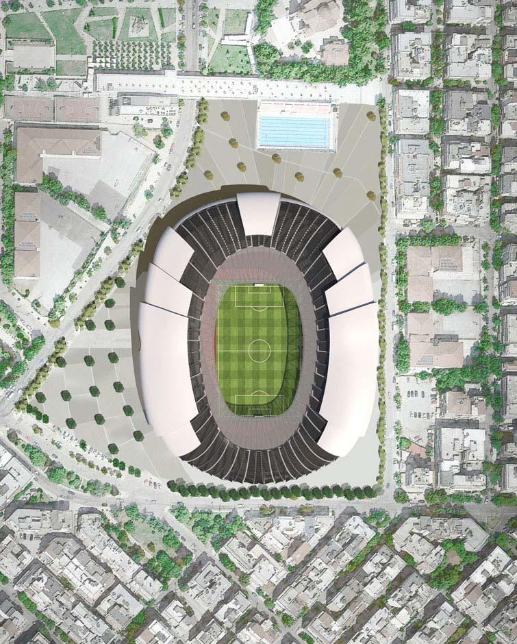 paok nuovo stadio a&s architects vista aerea