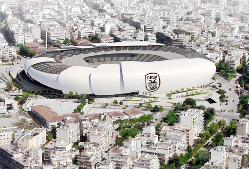 paok nuovo stadio a&s architects vista esterna aerea