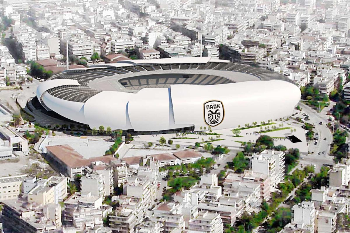 paok nuovo stadio a&s architects vista esterna aerea