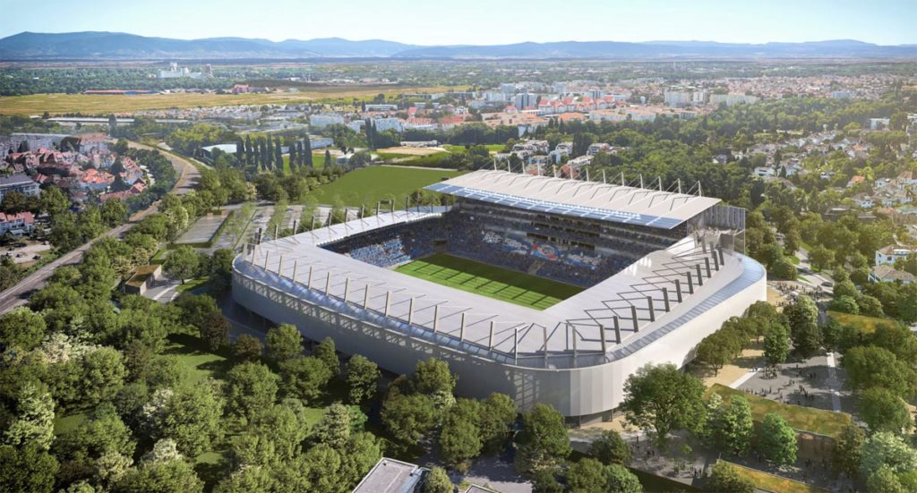 strasburgo populous restyling stadio vista aerea