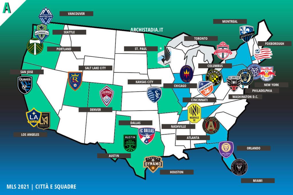mappa mls 2021 squadre città archistadia