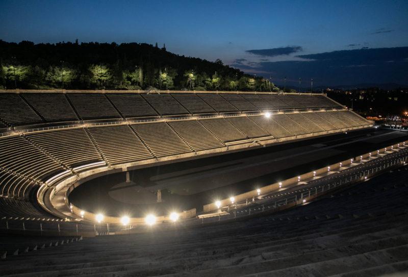 panathinaiko atene stadio illuminazione led panoramica