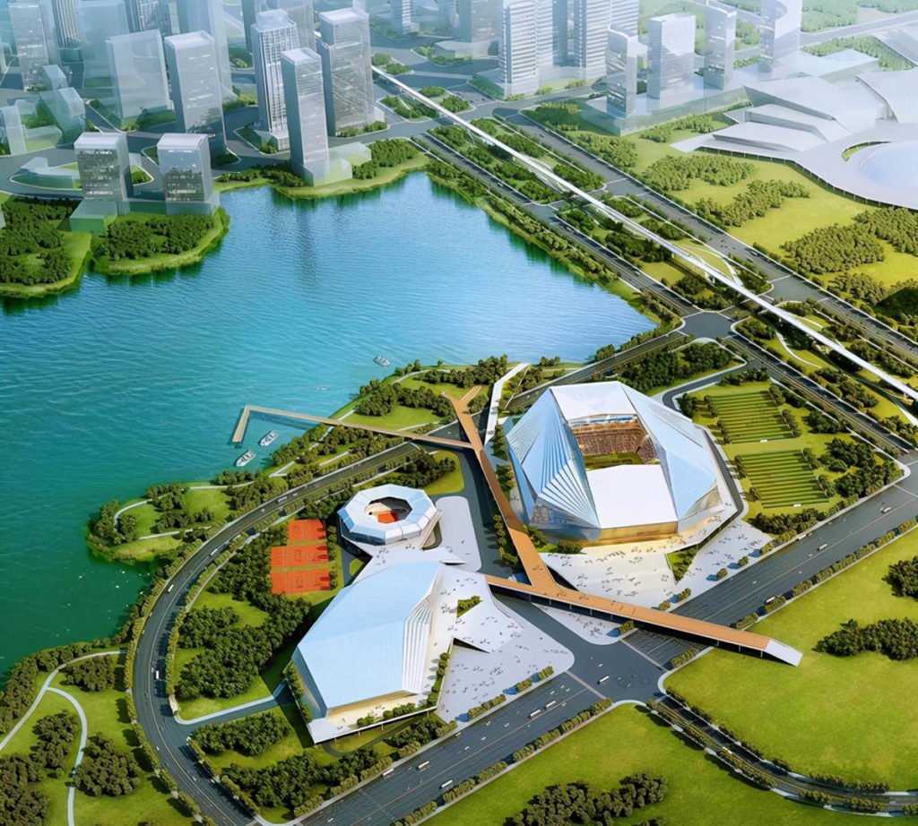 wuhan nuovo stadio panoramica aerea