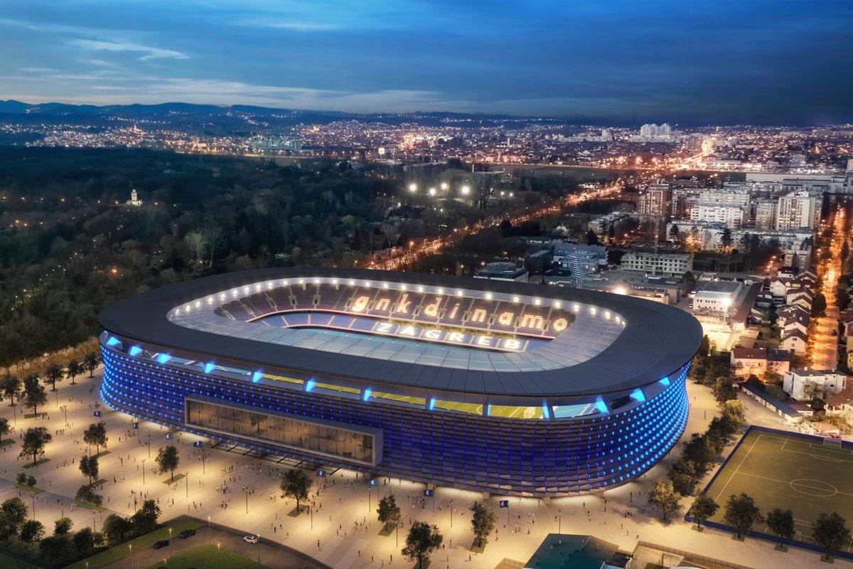 dinamo zagabria nuovo stadio maksimir concept panoramica aerea notturna