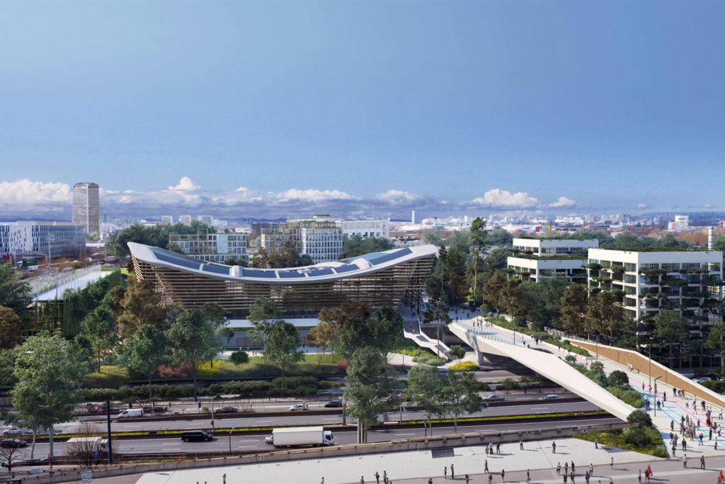 parigi 2024 olimpiadi render aquatics centre esterno
