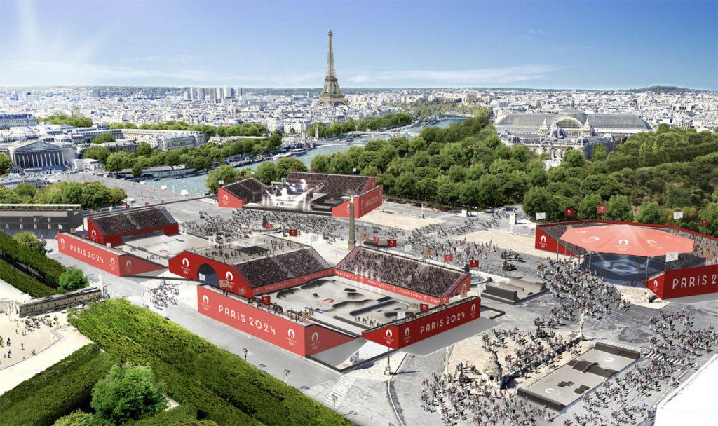 parigi 2024 olimpiadi render place concorde skateboard