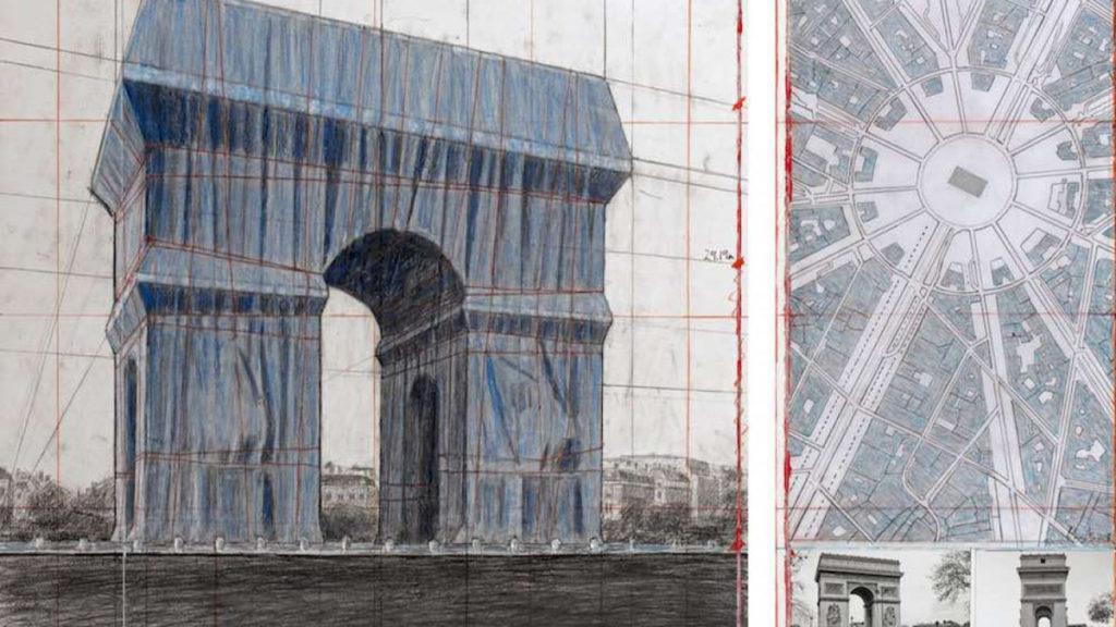 arco di trionfo parigi christo disegni