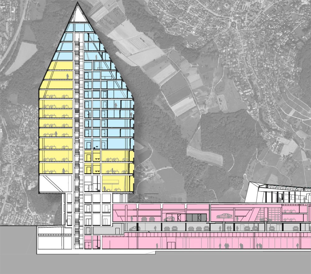st jakob park basilea torre sezione architettura