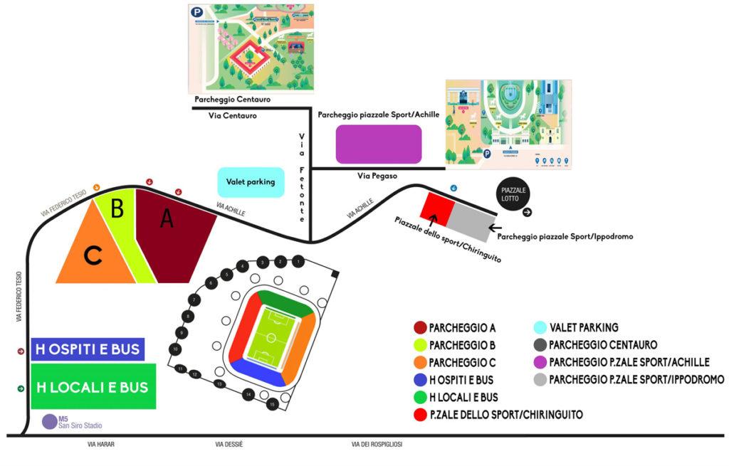 mappa san siro accessi parcheggi